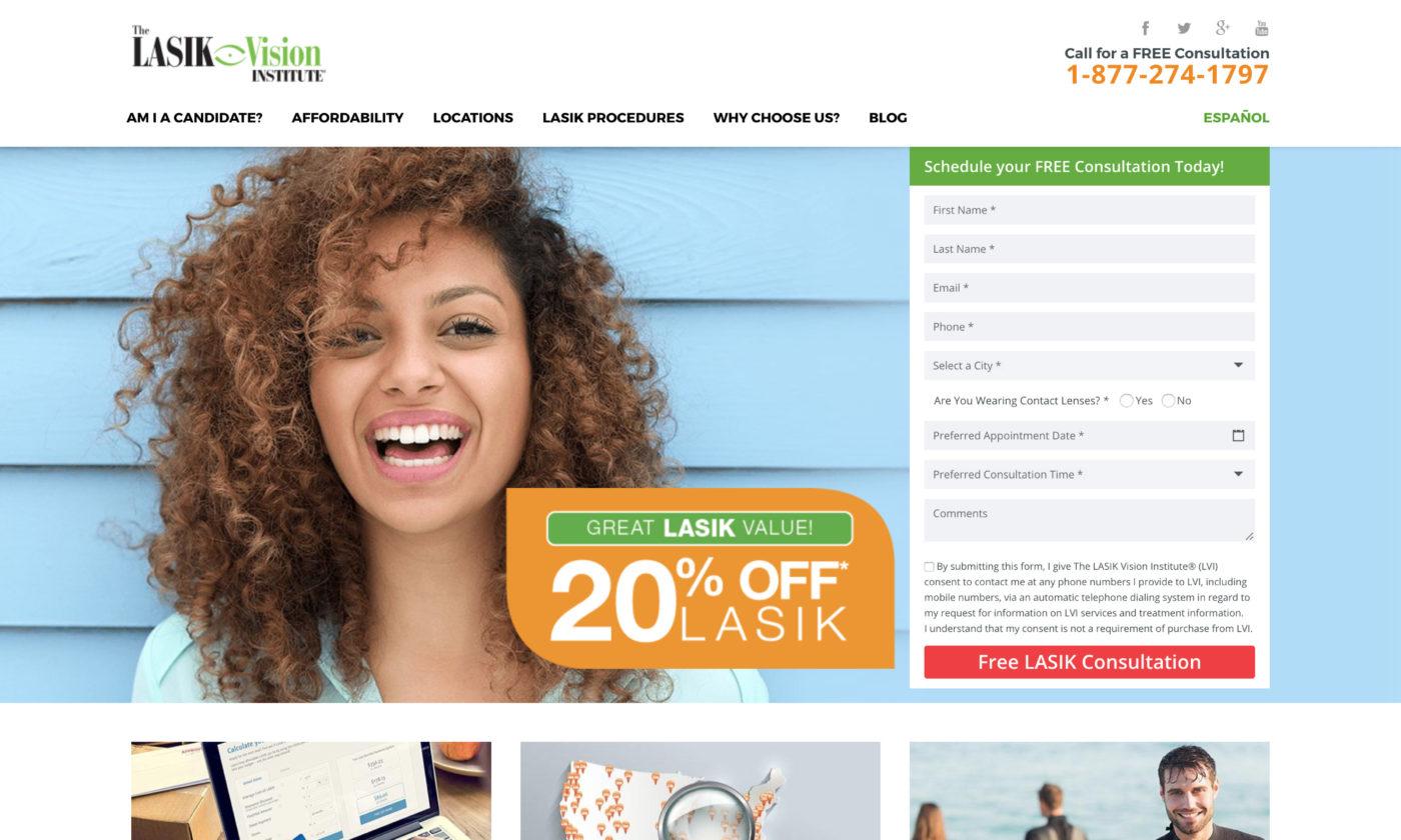 The LASIK Vision Institute Website Screenshot